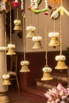 Looking for Hanging temple bells South Indian decor? Browse of latest bridal photos, lehenga & jewelry designs, decor ideas, etc.