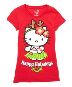 Loving this Red Hello Kitty 'Happy Huladays' Tee - Girls on #zulily! #zulilyfinds
