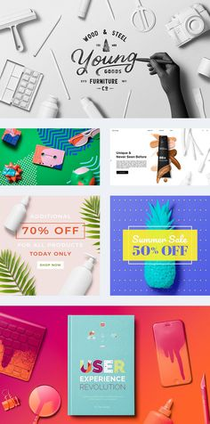 A collection of painted object mockups for Photoshop. You can easily create  hero images, marketing banners, social media graphics in second. These PSD  files let you to customize each item as you want. Just use smart object  layers and customize reflection and shadows.