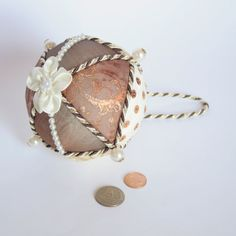 Bronze brown & cream Christmas ball tree ornament by DreamsCorner, €15.00