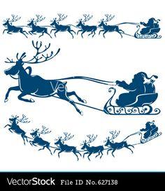 Reindeer and santa claus vector image on VectorStock Christmas Stencils, Christmas Vinyl, Christmas Rock, Christmas Templates, Christmas Printables, Santa Sleigh Silhouette, Santa Claus Vector, Reindeer And Sleigh, Diy Décoration