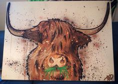 Highland coo commission 100x70cm mixed media