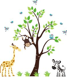 Baby Nursery Decor Wall Decals Jungle Safari by NurseryDecals4You.  https://www.etsy.com/listing/265168892/baby-nursery-decor-wall-decals-jungle?ref=shop_home_active_12