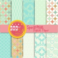 Mint digital paper 10 mint backgrounds 'spearmint' by GemmedSnail, $4.00