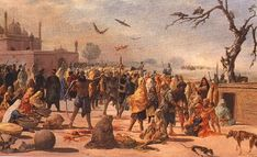 """Tyranny of Mir Mannu, Governor of Lahore (1748-1753): Mannu ordered slaughtering the Sikh. The captured Sikhs were beaten with wooden mallets.  To break will and high spirits of Sikh women, they were made to watch their children pierced by the spears.  Cut into pieces and put as a necklace to their mothers.  Dogs ate their flesh.There now stands Gurdwara Shaheed Ganj, Lahore. """"We are like plants and Mannu a sickle, all know. The more he cuts us, the more we grow."""""""
