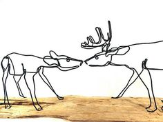 Deer Wire Sculpture Buck and Doe Wire Sculpture Deer by WiredbyBud