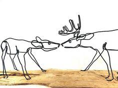 Deer Wire Sculpture Buck and Doe Wire Sculpture Deer by WiredbyBud