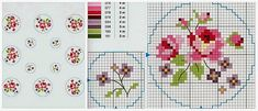 Roses and small flowers cross stitch pattern