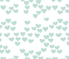 Pastel love hearts tossed hand drawn illustration pattern scandinavian style in soft mint fabric by littlesmilemakers on Spoonflower - custom fabric