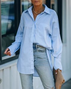 Blue Shirt Outfits, Style Outfits, Blouse Outfit, Casual Outfits, Women's Blue Shirt, Summer Outfits, Oversized Shirt Outfit, Oversized Button Down Shirt, Oversized Blouse