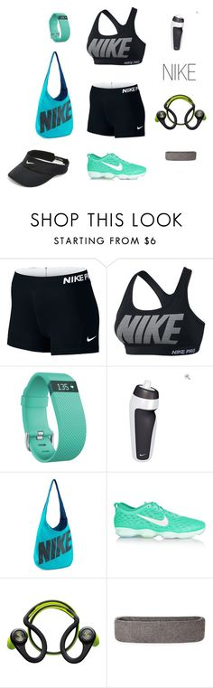 """""""NIKE"""" by christinajay ❤ liked on Polyvore featuring NIKE, Fitbit, Plantronics and nike"""