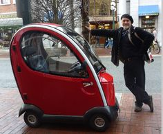 """""""Godfrey Stephens and Mini Mini Car in Victoria, BC """" a photo of a mysterious little car from Lloyd Khan's blog"""
