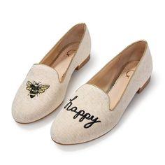 C Wonder Bee Happy Smoking Slippers Shoes Flats Tory Burch Natural Gold 11M NIB #CWonder #Flats