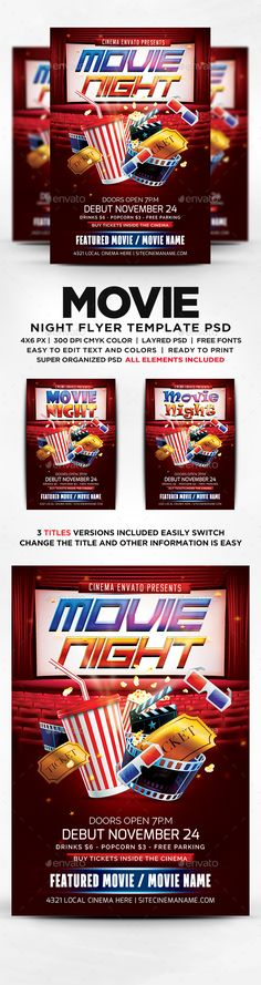 Movie Night Flyer  Flyer Template Font Logo And Logos