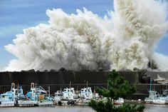 Typhoon waves crashing in Japan