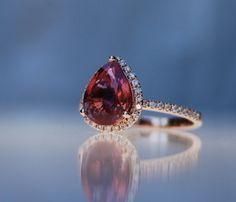 2ct pear Red and Blue sapphire 14k rose gold by EidelPrecious, $2,300.00