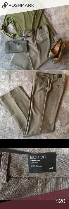 Express Editor dress slacks Express Design Studio's famous Editor trouser pants in a subtle lined pattern. The coloring of these pants lean brownish but can easily be paired with black tones. Low rise with a straight leg through the hip and thigh. Express Pants Trousers
