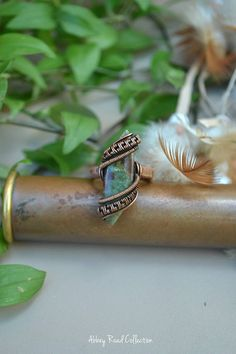 Chrysoprase Wire Wrapped Ring. Natural Gemstone Copper Ring.