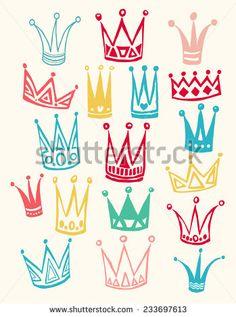 Set of cute cartoon crowns. Hand drawing vector background. Pastel color. Vector illustration.