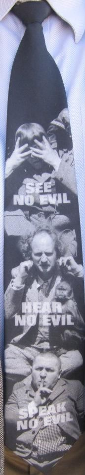 """This is one of my two religious #ties.""  Monochromatic Three Stooges jestering with the words: ""See no evil"", ""Hear no evil"", ""Speak no evil"" overlaid. — with Rick Hill in Julian, CA. http://fb.com/photo.php?fbid=2625093182931"