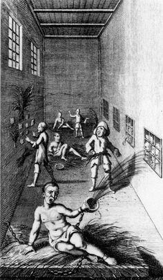 In 1402, St. Mary of Bethlehem, an asylum popularly known as Bedlam, opened to receive mental patients in England. The institution itself was founded in 1247 as a priory. The famous painting of Bedlam is by William Hogarth, 1735.