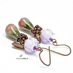 Botanical lilac flower drop earrings. Artisan floral lilac and  purple earrings. Botanical flower earrings. Gift for flower lovers. by StudioRosaLilly on Etsy