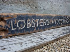 Rustic Distressed Lobsters Oysters Clams Restaurant nautical Beach house Wood Sign on Etsy, $89.99