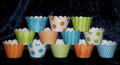 Blue Green Orange  Cupcake wrappers  12 count  by APaperPlayground, $5.00