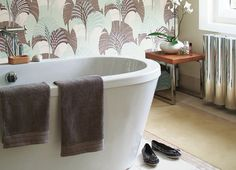 New bathroom?  Grace by Harlequin, 60577 in Duckegg, Umber, Gilver and Ivory and available at http://www.wallpapertolove.co.uk