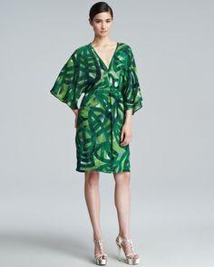 Printed Silk Caftan Dress Green By Escada At Neiman Marcus