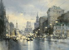 Watercolor city of Moscow by Chien Chung-Wei. Watercolor City, Watercolor Artists, Watercolor Landscape, Landscape Art, Landscape Paintings, Watercolor Paintings, Watercolor Ideas, Watercolours, Landscapes