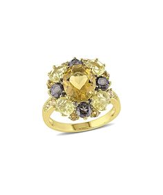 Look at this Honey Citrine & Diamond Cluster Ring on #zulily today!