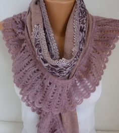 Knitted Scarf Winter Scarf Shawl Cowl Lace Bridesmaid
