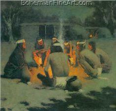 Frederic Remington, Apache Medicine Song Fine Art Reproduction Oil Painting