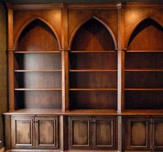 Gothic Style Bookcases with Distressed Finish
