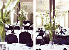 purple and white wedding, black and white wedding, wedding centerpieces, tablescapes, white wedding flowers