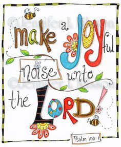 Christian Scripture Art, Original Colored Pencil Drawing, Joyful Noise