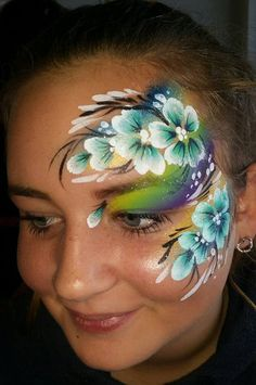 Creations Professional Face Painting One stroke eye design flowers and commas Face Painting Images, Face Painting Flowers, Adult Face Painting, Belly Painting, Face Painting Designs, Paint Designs, Paint Flowers, Mime Face Paint, Face Paint Makeup