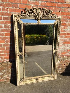 A Highly decorative large stunning Antique 19th Century French carved wood & gesso painted Cushion Mirror.