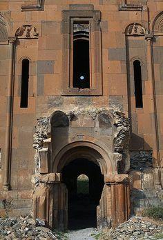 Main entrance, Armenian Cathedral of Ani, Armenian Kingdom of Ani, SE Turkey…
