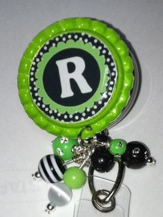 Bling Retractable Badge Reels (A-Z) Your Choice of Letter   Christysglitz - Accessories on ArtFire