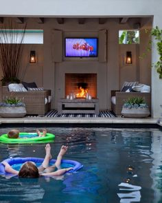 Your pool is all about relaxation. Not every pool must be a masterpiece. Your backyard pool needs to be entertainment central. If you believe an above ground pool is suitable for your wants, add these suggestions to your decor plan… Continue Reading → Outdoor Lounge, Outdoor Rooms, Outdoor Kitchens, Outdoor Theater, Party Outdoor, Pool Lounge, Pool Bar, Indoor Outdoor, Outdoor Pool Areas
