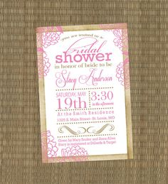 Printable Bridal Shower Invitation - Shabby Chic Pink Wedding Shower Invitation. $15.00, via Etsy.