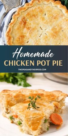 Get the best of your Sundays with the family in this easy recipe! Chicken Pot Pie is a homemade classic. A buttery and flaky pie crust is filled with shredded chicken, vegetables, and a creamy sauce. Homemade Chicken Pot Pie, Recipe Chicken, Chicken Pot Pie Recipe Crescent Rolls, Chicken Potpie Recipes, Double Crust Chicken Pot Pie Recipe, Chicken Pot Pies, Chicken Pot Pie Recipe Pioneer Woman, Chicken Pot Pie Recipe With Biscuits, Creamy Chicken Pie