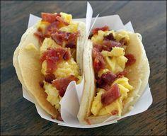 pancake tacos (pancakes, bacon, eggs, syrup).
