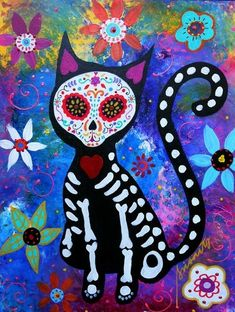 Mexican Day of the Dead PRISTINE Skulls CAT Original Folk Art Flowers PRISARTS.
