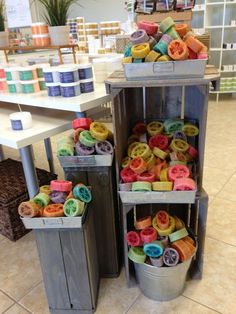 Naples soap company's very own beautiful, handmade in our usa facilities, famous loofa soaps Soap Display, Craft Fair Displays, Display Ideas, Soap Shop, Soap Company, Soap Packaging, Bath Soap, Craft Show Ideas, Handmade Soaps