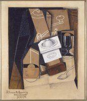 Gris, Juan (José Victoriano González Pérez): Moulin à café, tasse et verre sur une table (Molinillo de café, taza y copa sobre una mesa)