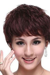 Reddish Brown Curly Layers Bob-cut Human Hair Wig