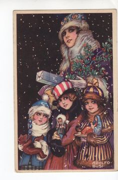 C862 postcard Christmas Art Deco Woman and children with Dolls Teddy Nativity | eBay